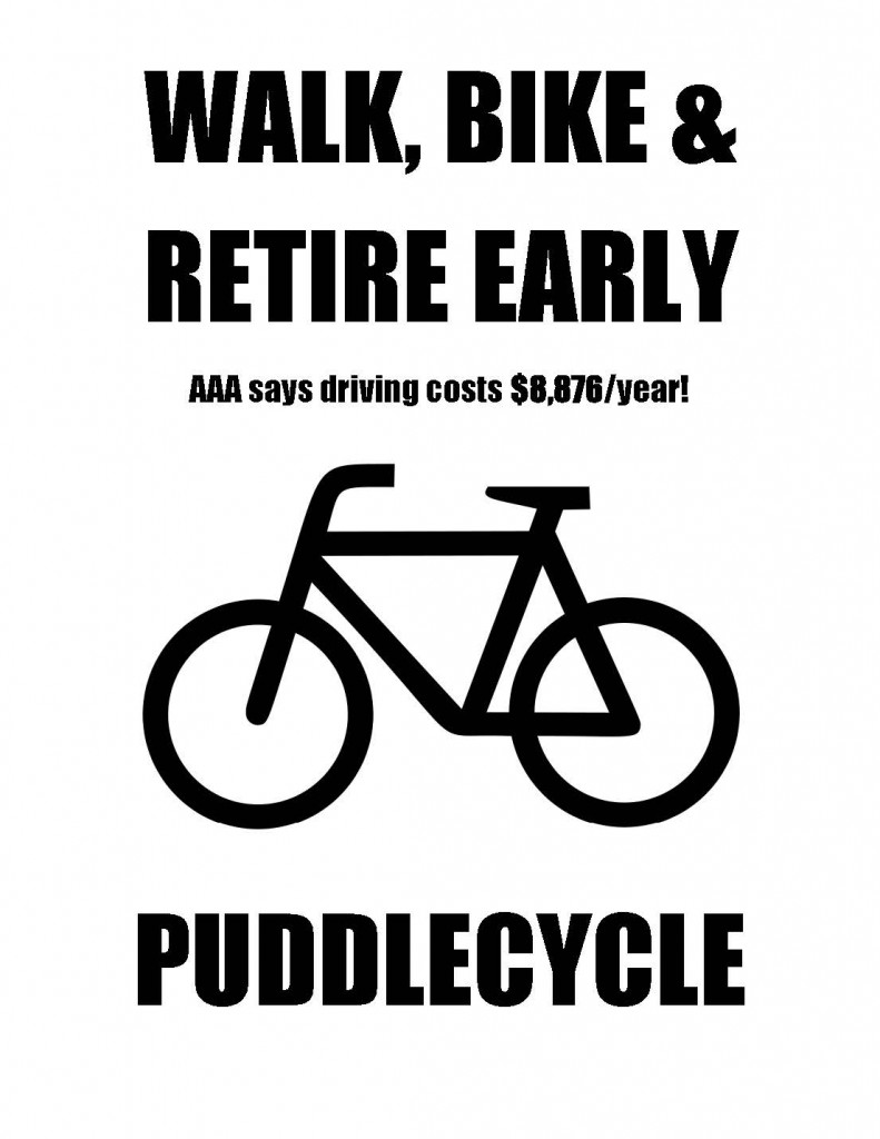 Puddlecycle-poster-Walk-bike-retire-early