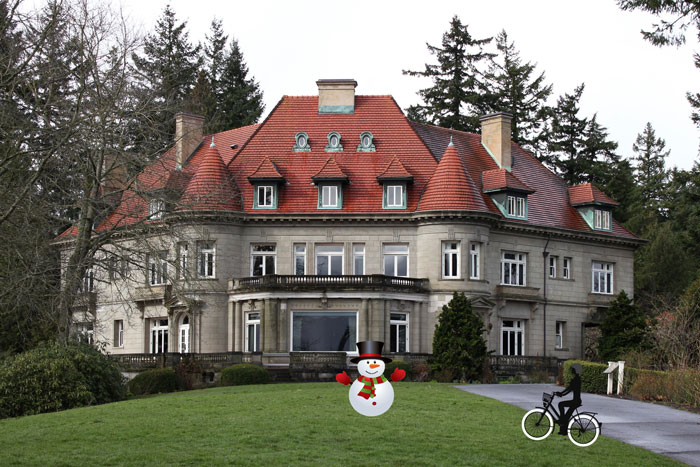 pittock mansion snowman
